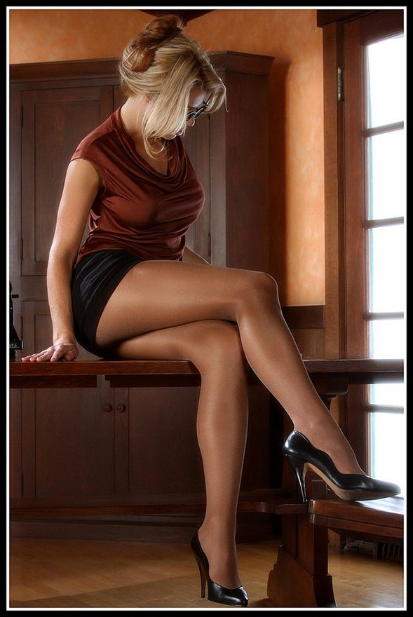 Women with long legs in pantyhose