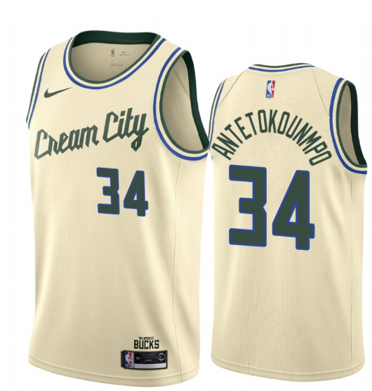 Men S Giannis Antetokounmpo Milwaukee Bucks 2019 20 Cream City Edition Jersey 2020