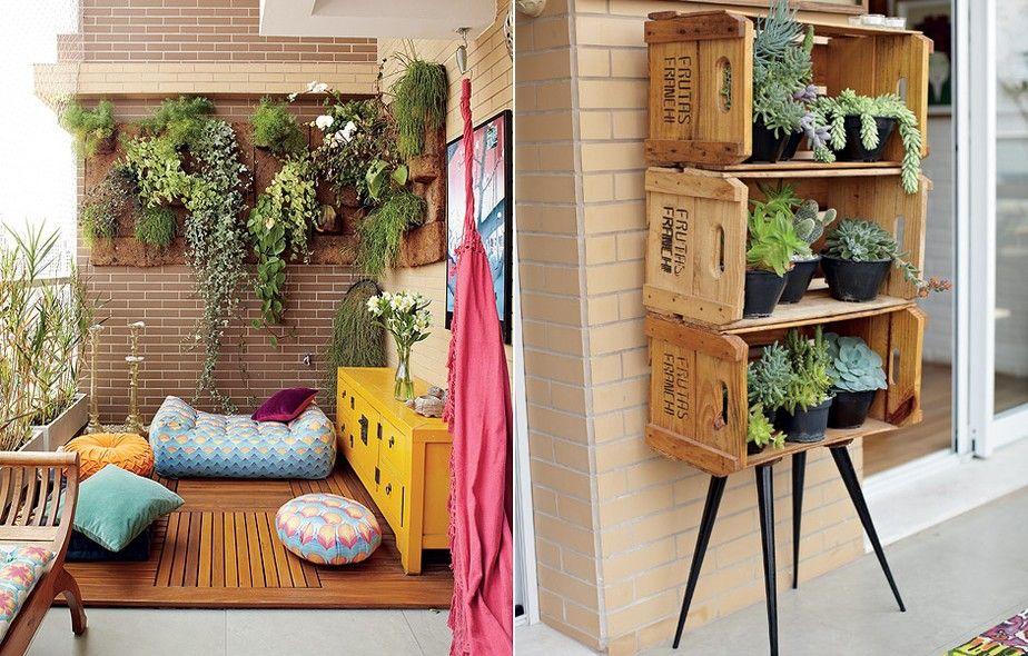 Varanda com cara de quintal pufes jardins verticais e - Estantes para plantas ...