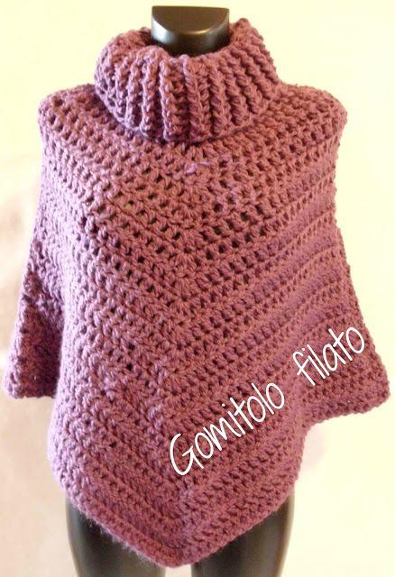 Gomitolo Filato Poncho Alluncinetto Tutorial Poncho Crochet
