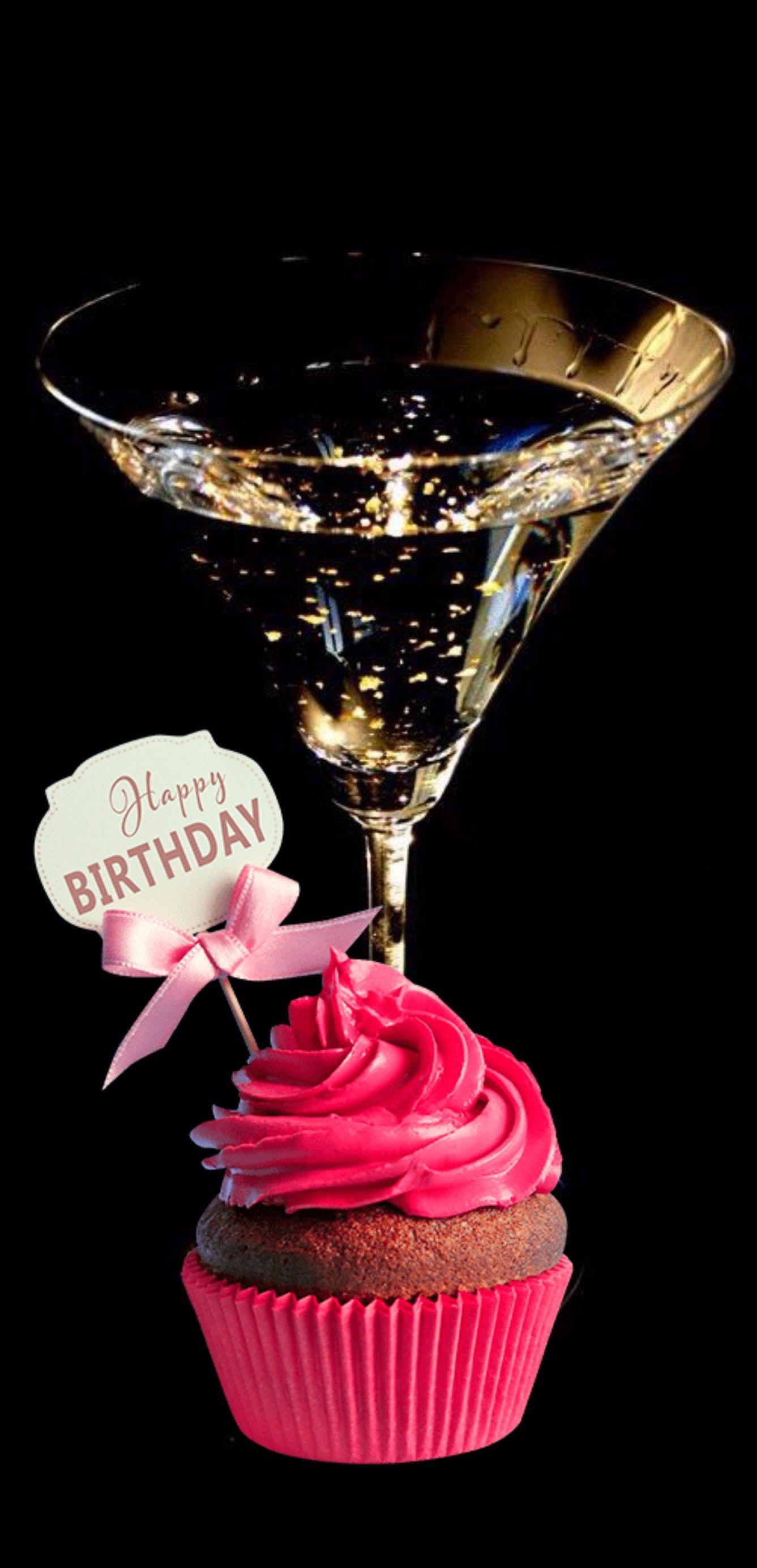 Happy Birthday Cupcake And Champagne Happy Birthday Cakes Happy Birthday Cupcakes Happy
