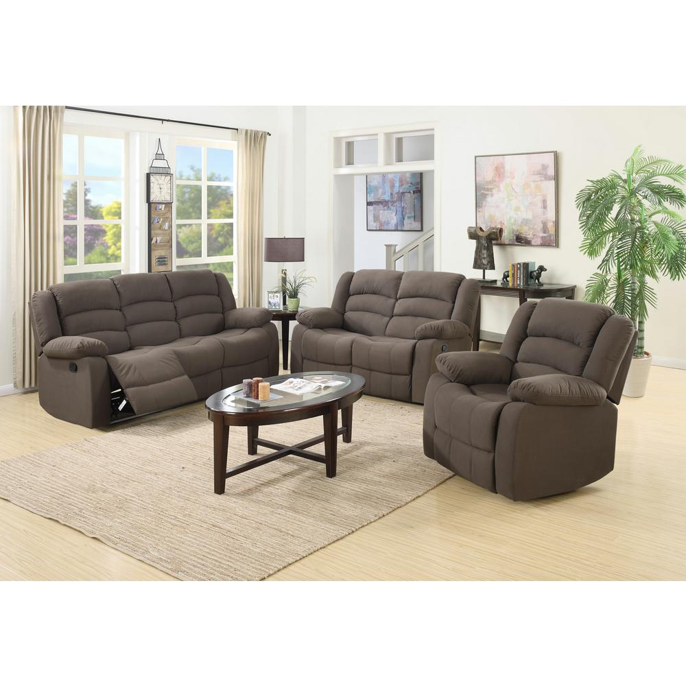 Ellis Contemporary Microfiber 3-Piece Living Room Set, Brown ...