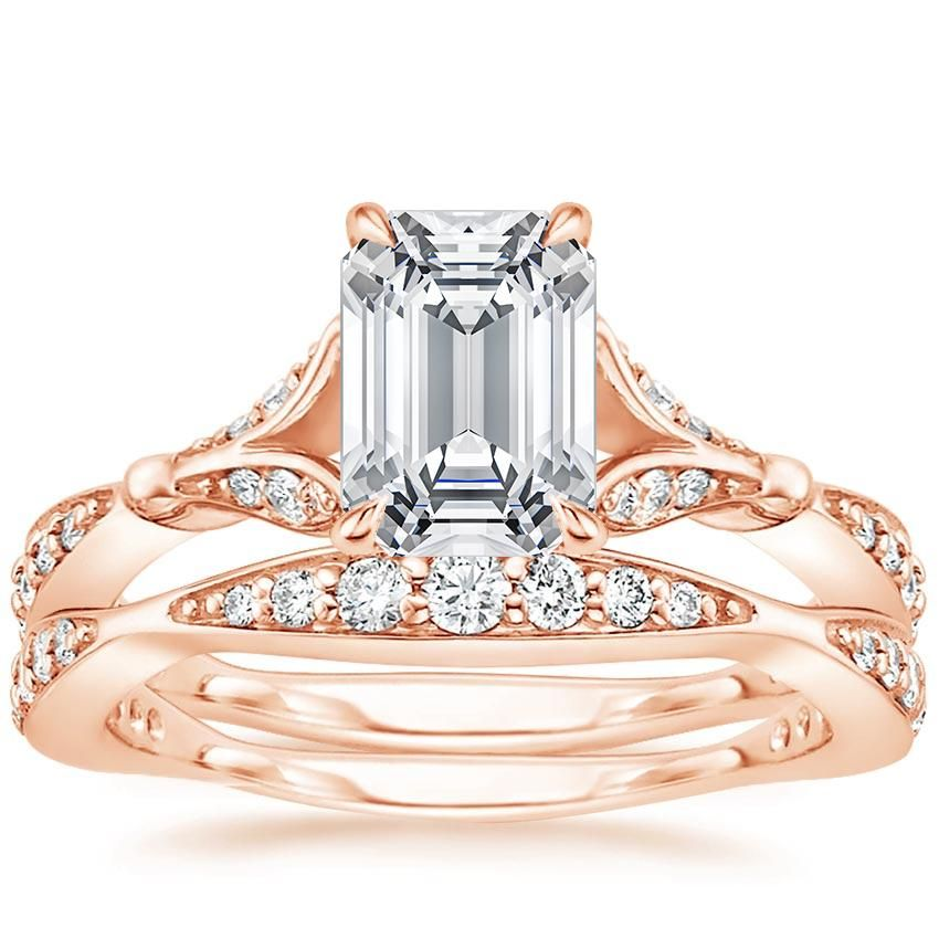 Emerald Cut Zinnia Diamond Bridal Set Engagement Ring - 14K Rose Gold 591dc7952292