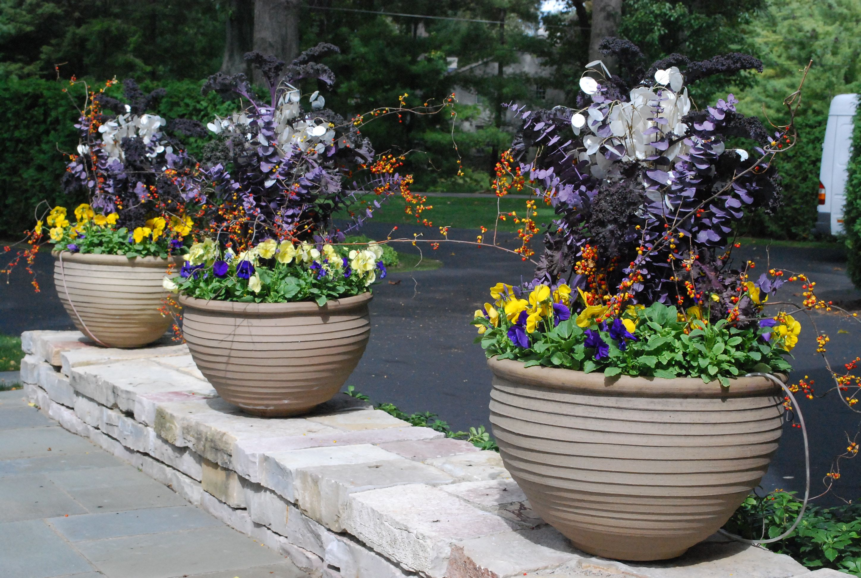 stoneware pots planted for fall
