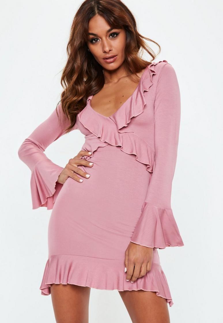 Vestido de té con volantes de color rosa | VESTIDOS KELLY | Pinterest