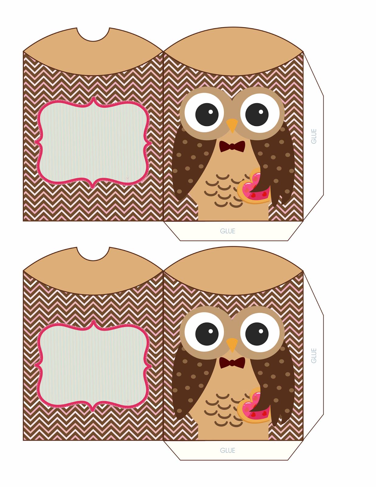 Moldes de caixinhas, lembrancinhas para festas   OWL PILLOW BOXES ...