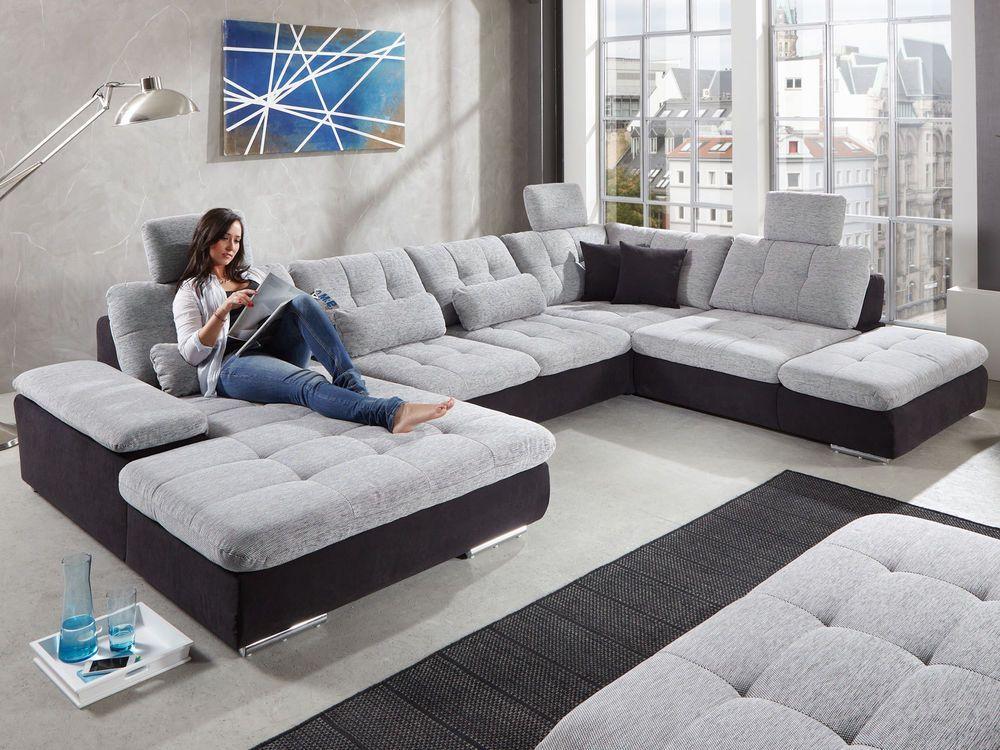 Wohnlandschaft Xxl Schlaffunktion Stoff Eck Sofa Couch Polster