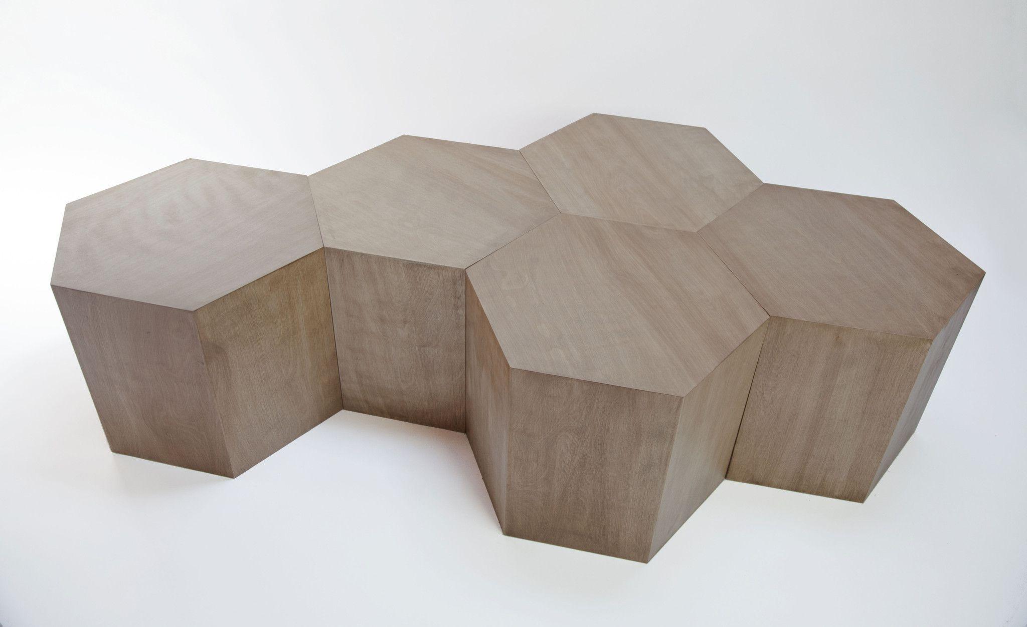 Hexagon Wood Modern Geometric Table Oak Walnut Coffee Table