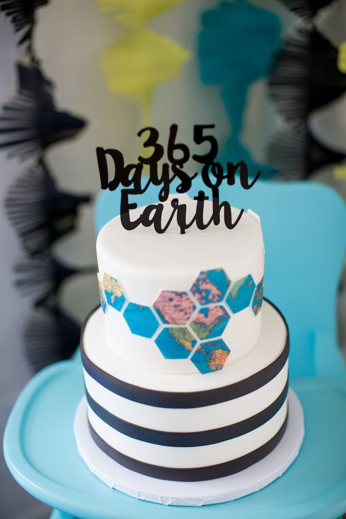 Modern Earth Cake from a 365 Days on Earth First Birthday Party on