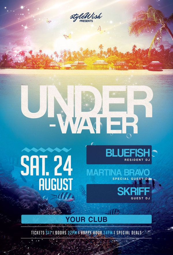 Underwater Party Flyer  Underwater Party Party Flyer And Underwater