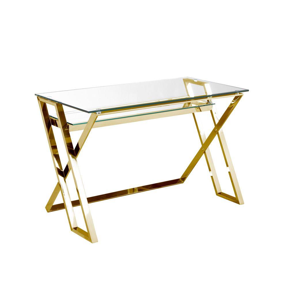 Harvey Gold Desk Gold Desk Glass Desk Gold Furniture