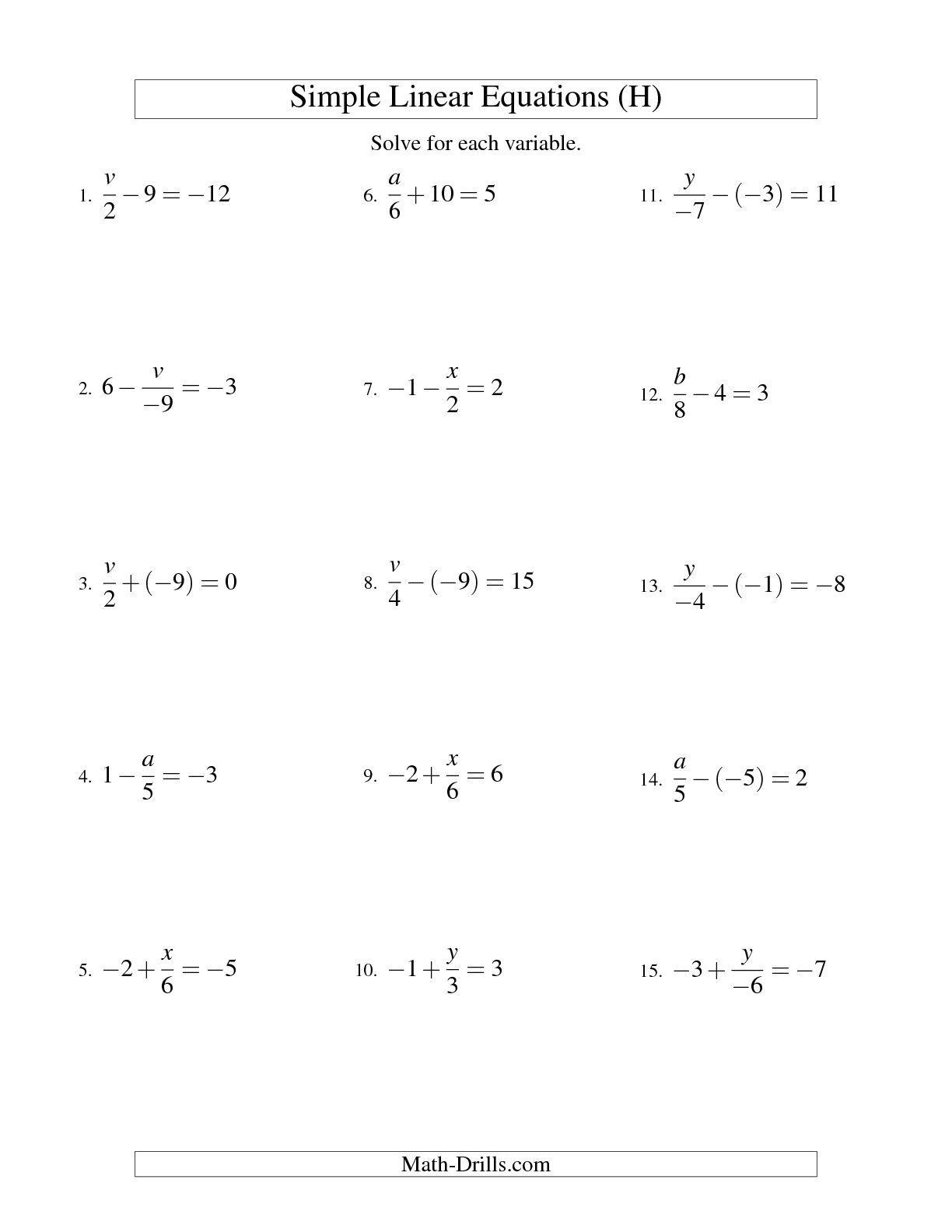 Multi Step Equations Worksheet