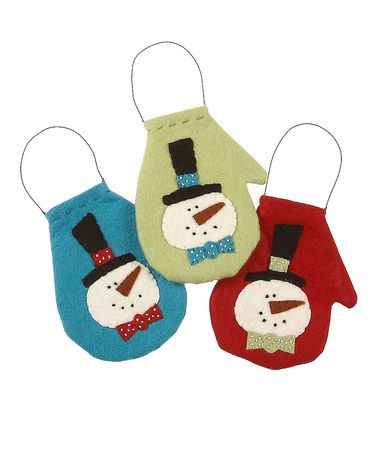 Take a look at this Frosty Mini Mitten Ornament Set by Collins Christmas on #zulily today!