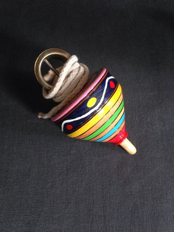 Toy Spinning Top  Vintage  Beautifully Painted Wood by OverVenti