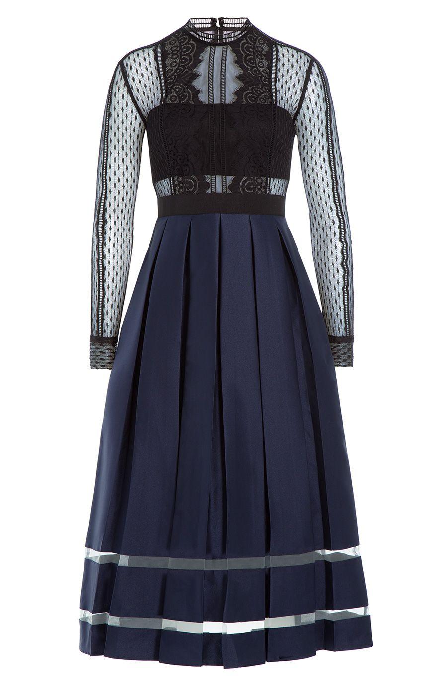 Self-Portrait midi dress with lace