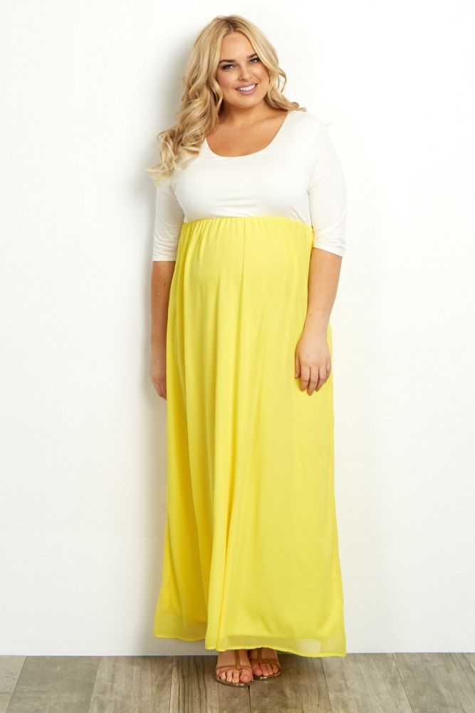 6ba643ba148 Yellow Chiffon Colorblock Plus Size Maternity Maxi Dress