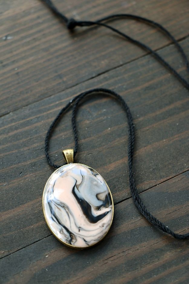 12 marbled polymer clay necklace ideas you need to try pinterest easy marbled clay pendant aloadofball Image collections