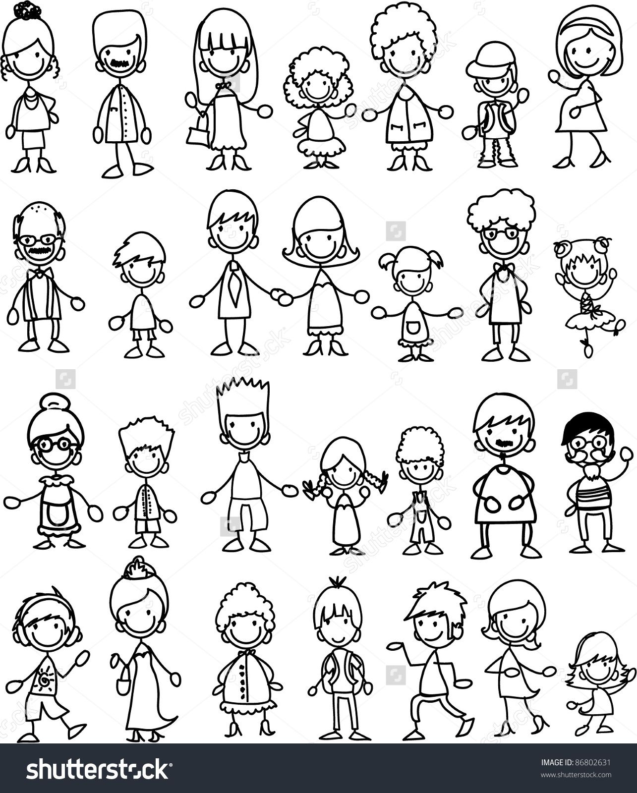 Kids Stock A Wide Selection Of Luxury Premium Cotton: Doodle Members Of Large Families Stock Vector Illustration
