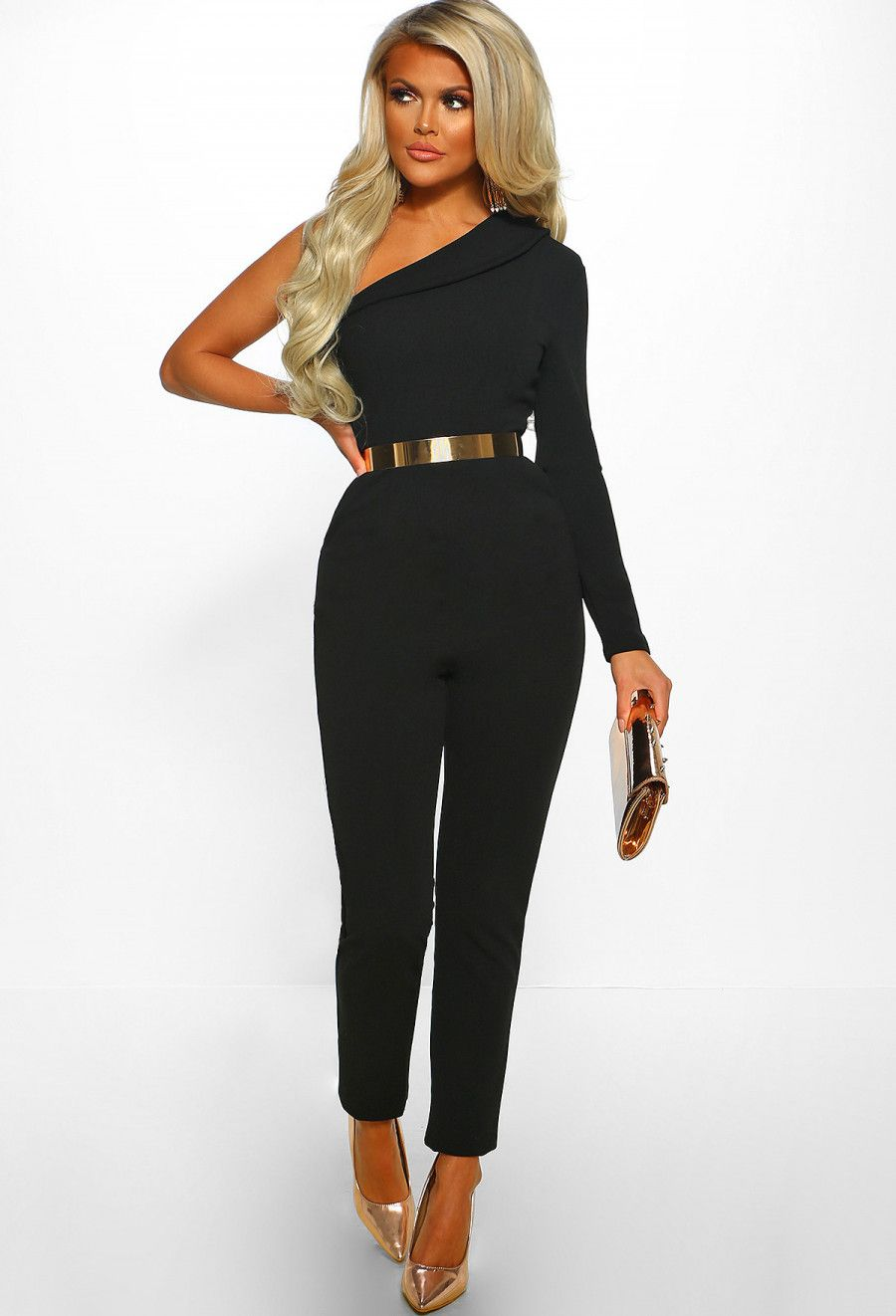 b169ab93a856 In Control Black One Shoulder Tailored Jumpsuit