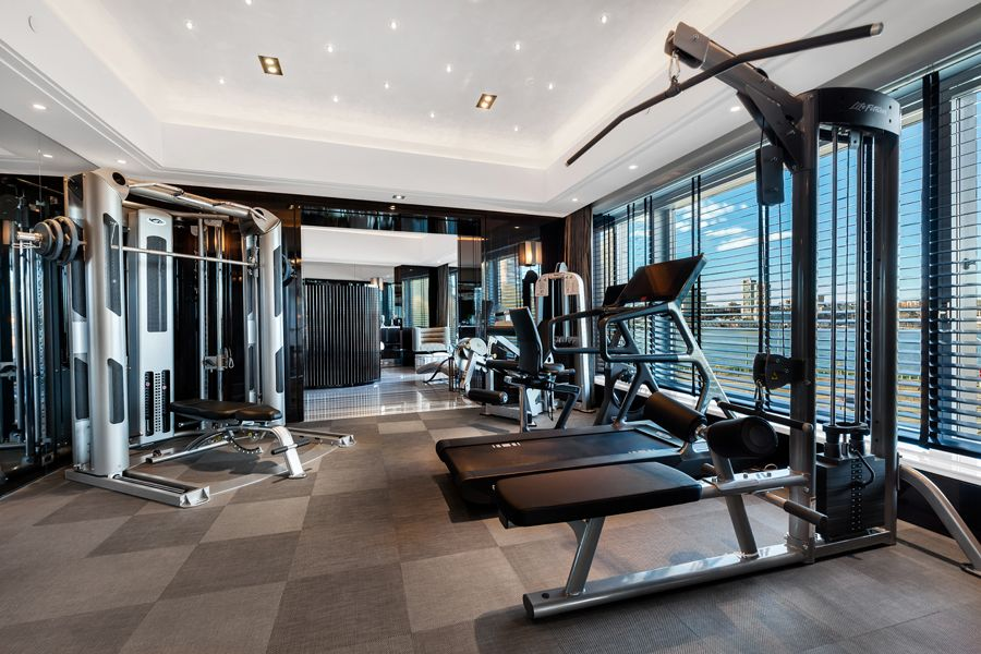 Home Gym Area In Contemporary Residence From New York.