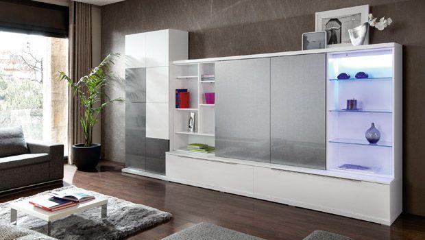 muebles blancos modernos con puertas correderas