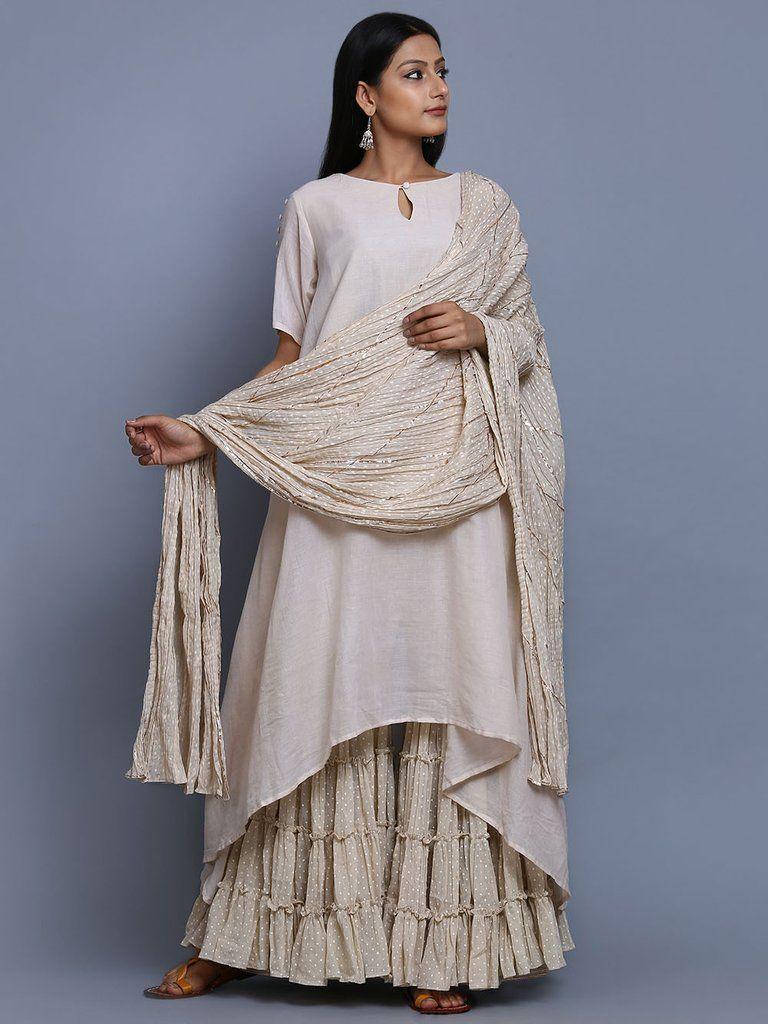5d0e2494a Beige Cotton Mulmul Hand Block Printed Sharara Suit - Set of 3 Kaftan Kurti,  Salwar
