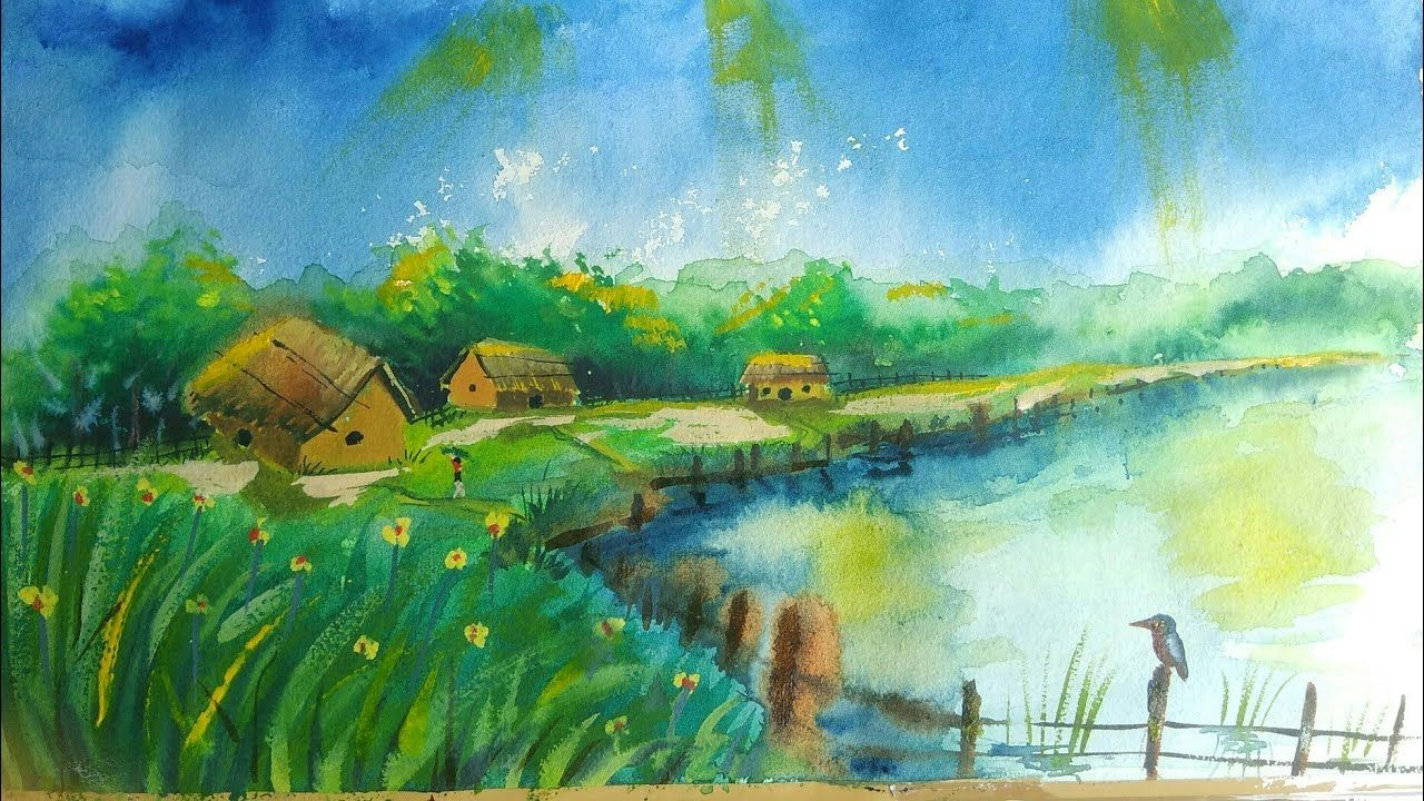 How To Draw Beautiful Scenery Without Pencil Village Watercolour Beautiful Scenery Drawing Drawing Scenery Watercolor Scenery