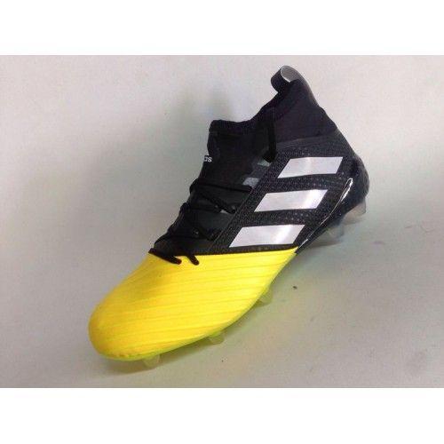 finest selection aead0 7860d Billig Adidas Ace 17.1 Primeknit FG Leather Gul Svart Fotballsko