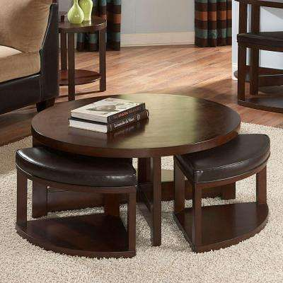 Round Cocktail Table With 4 Ottomans In Brown Cherry Coffee Table With Seating Coffee Table With Stools Coffee Table