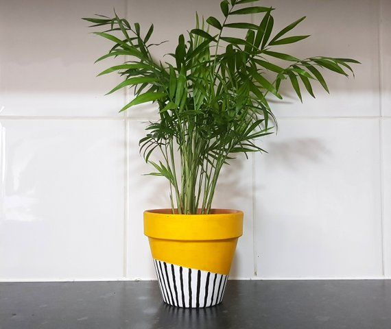 Hand Painted Terracotta Black and White Stripe Plant Pot / Bright Yellow Planter / 13cm / Garden decor / Home decor / Planter /Flower Pot #flowerpot