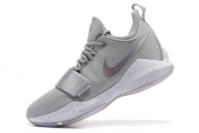 27d7e598c41 Bright Luster Paul George Nike PG 1 Grey Silver White Men s Casual Basketball  Shoes