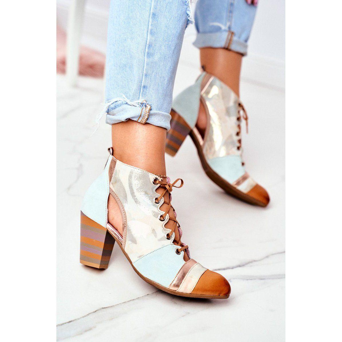 Botki Damskie Na Slupku Skorzane Maciejka Wiosenne 03938 04 Bezowy Wielokolorowe Zielone Heels Ankle Boot Shoes