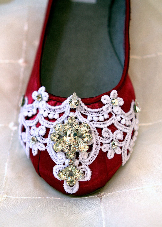 Claret red wedding shoes ballett slippers flats wedding flats red