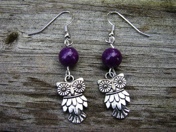 edgy owl  silver & purple beaded earrings by MamasNestDesigns, $10.00