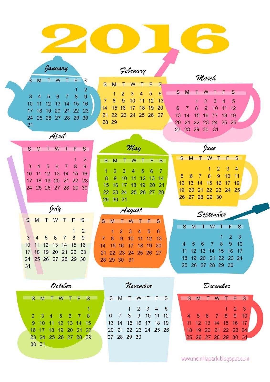 Kitchen Calendar Design : Free printable kitchen calendar teatime