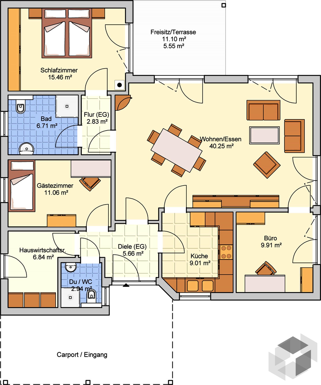 Grundriss Bungalow mit Büro Grundriss bungalow, Haus