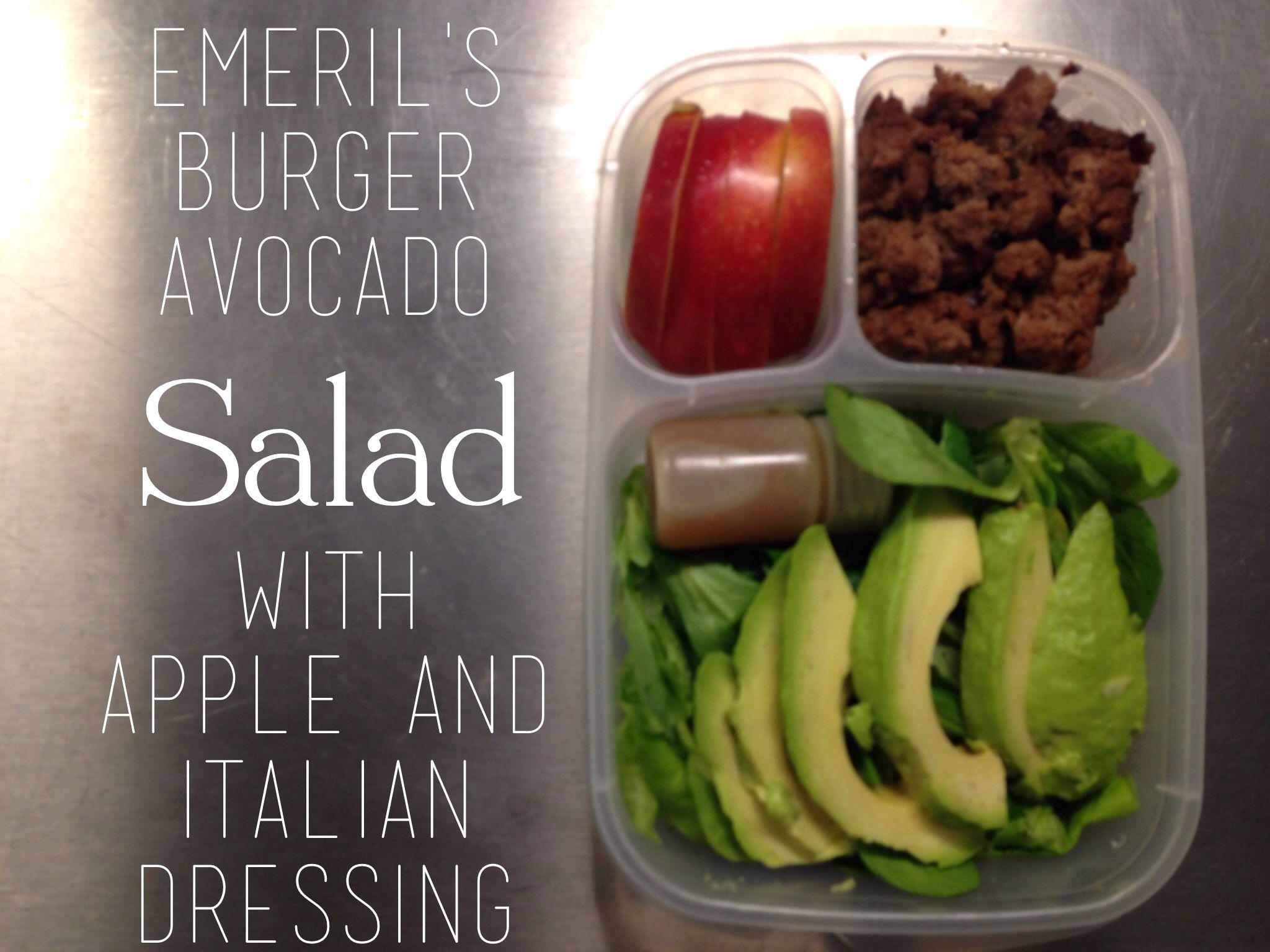Burger salad bento in EasyLunchboxes