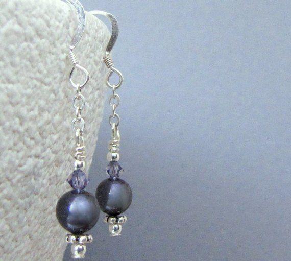 Shoply.com -Dark Purple Pearl Swarovski Crystal Silver Earwire Earrings. Only $13.00