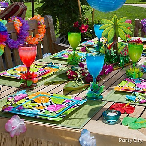 Caribbean Table Decorations Ideas Money Shop Luau Party Ideas Luau Tableware Luau Drinkware Serveware Luau Party Tropical Party Hawaii Themed Party