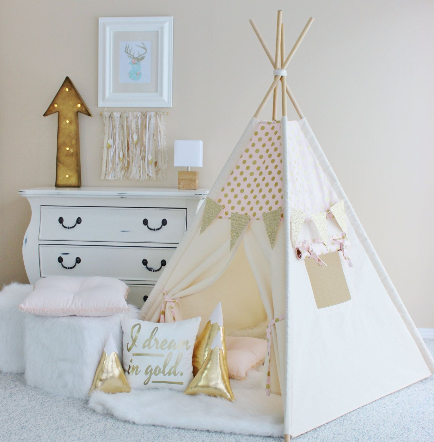 PINK with Gold Glamour Polka Dot Play Tent Canvas Teepee Pink