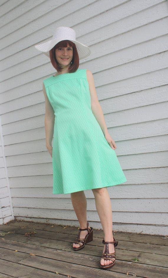 Vintage 60s Green Dress Mod Sleeveless Cute L XL by soulrust, $26.00