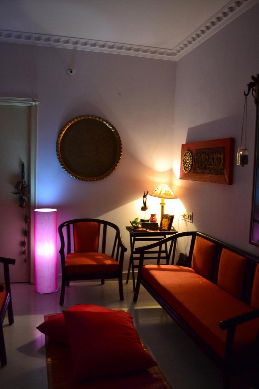 Drawing Room Sofa Designs India: A Flea Market Found Sofa Upholstered In Orange Silk Fabric