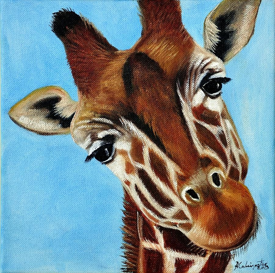 Baby Giraffe Painting by Adriana Fox