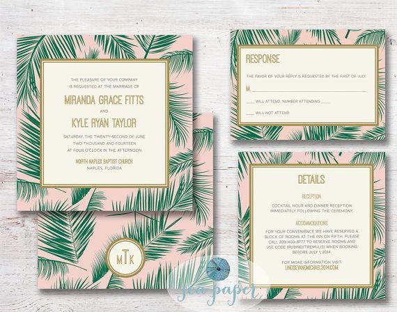 Palm Tree Leaf Printable Wedding Invitation DIY By SeaPaperDesigns