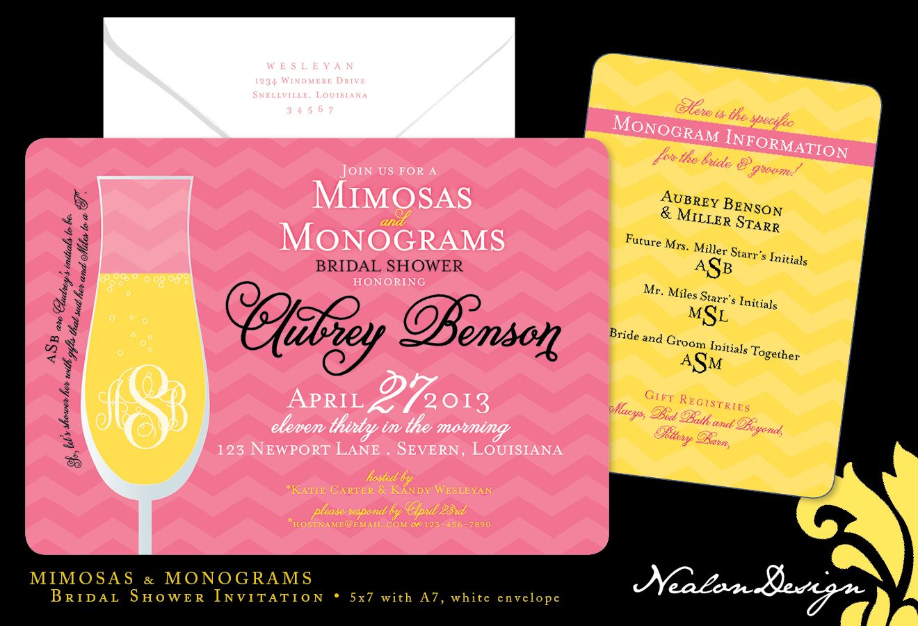 26491db95190 Nealon Design  Mimosas   Monograms — Bridal Shower Invitation ...