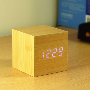 Cube Beech Click Clock Clock Gingko Digital Alarm Clock