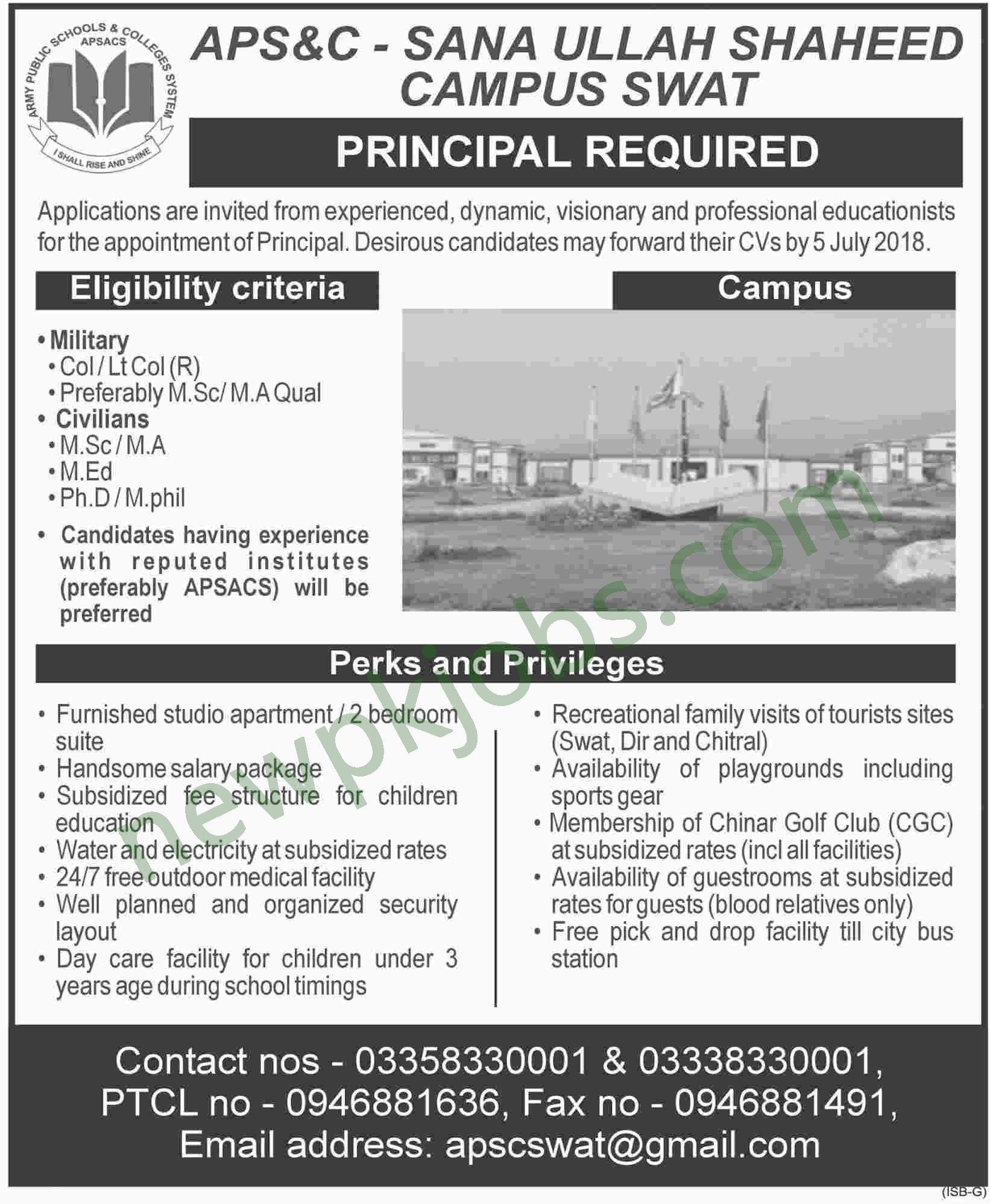 Principal Jobs in Army Public School and College Sanaullah