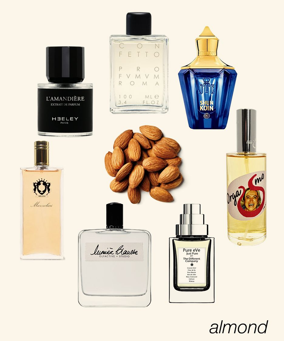 Everything almond: L'Amandiere, Confetto, Orgasmo, Pure Eve, Lumiere Blanche, Alessandro, and Shunkoin. #niche #perfume #luckyscent
