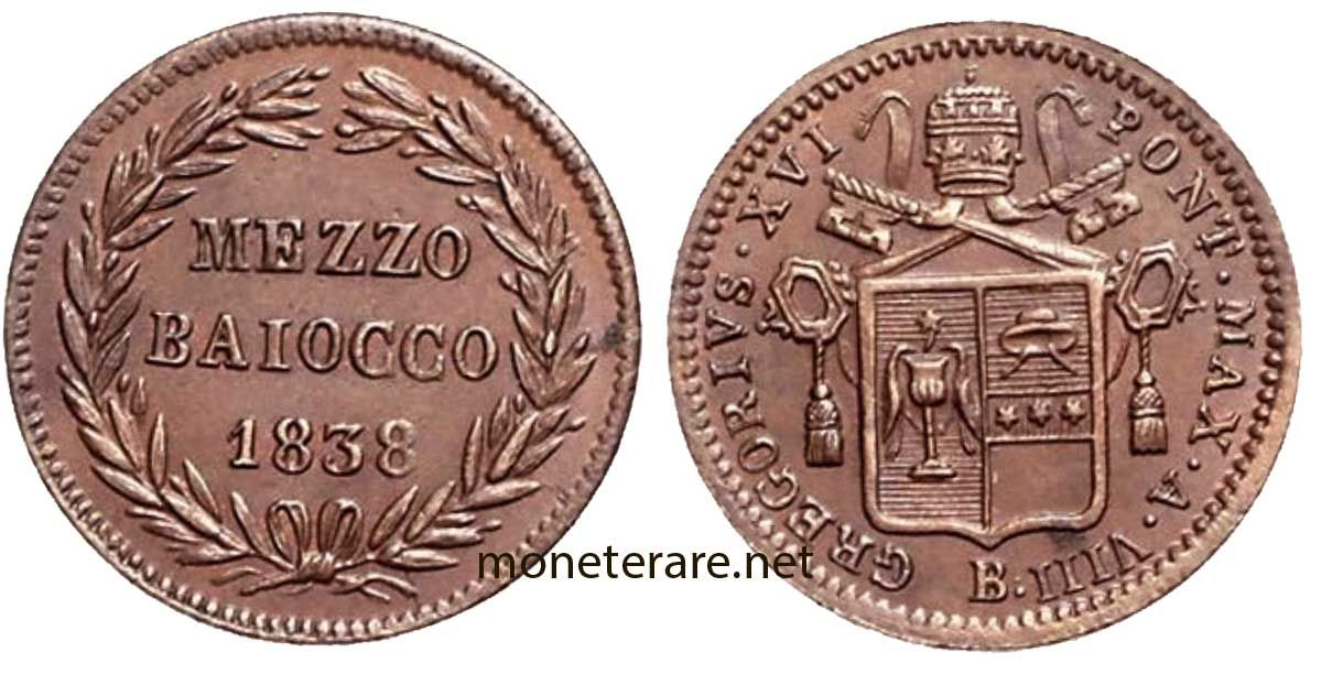 Moneta da mezzo baiocco del 1838 | Monete, Monet e Storia