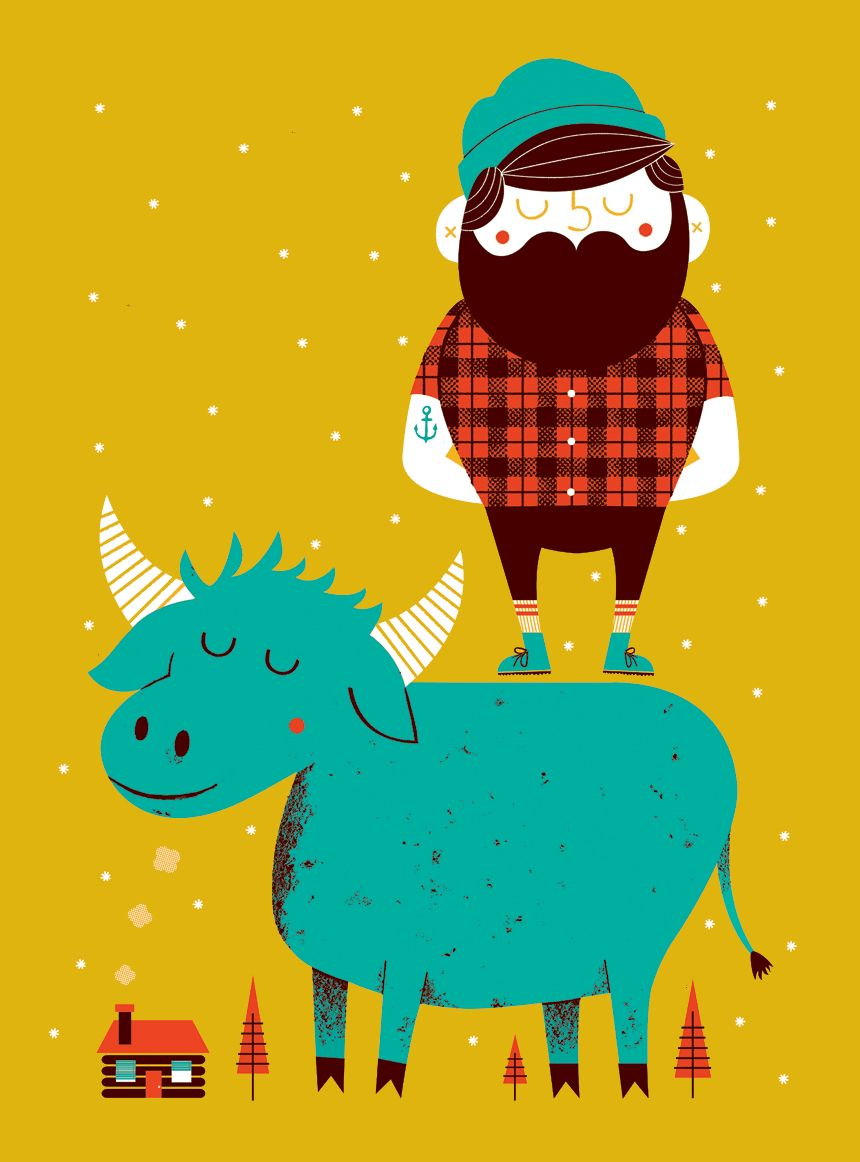 re imagined illustration of tall tale heroes paul bunyan and babe the blue ox by alex westgate [ 860 x 1162 Pixel ]